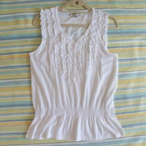 Jones New York Sport White ruffled henley tank top